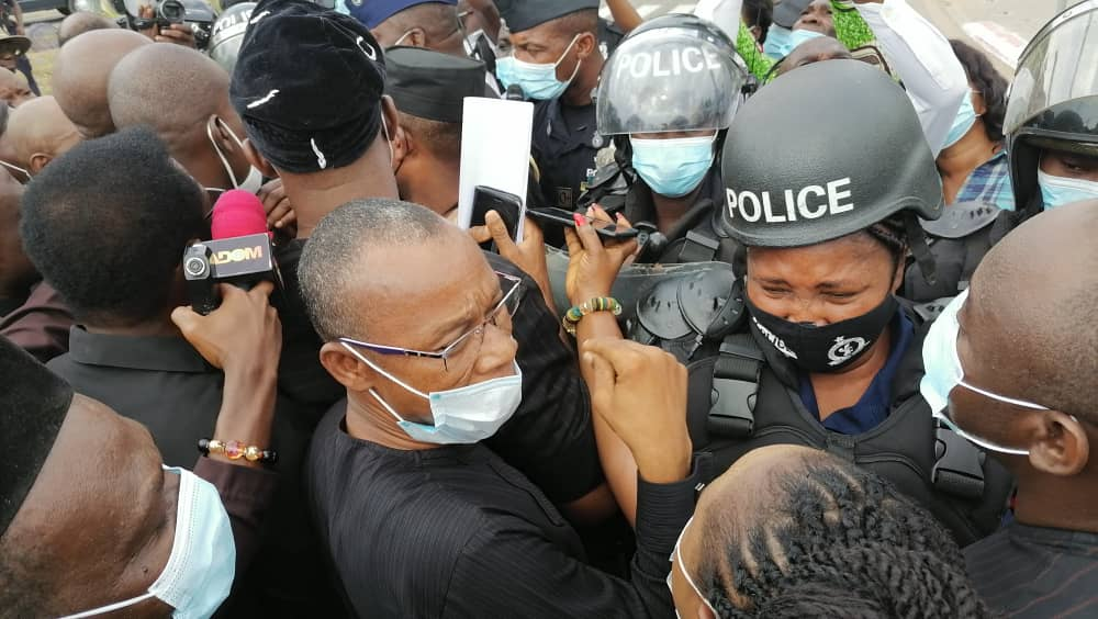Minority Caucus Clash with Security at EC in a protest March against Alleged Flawed Elections
