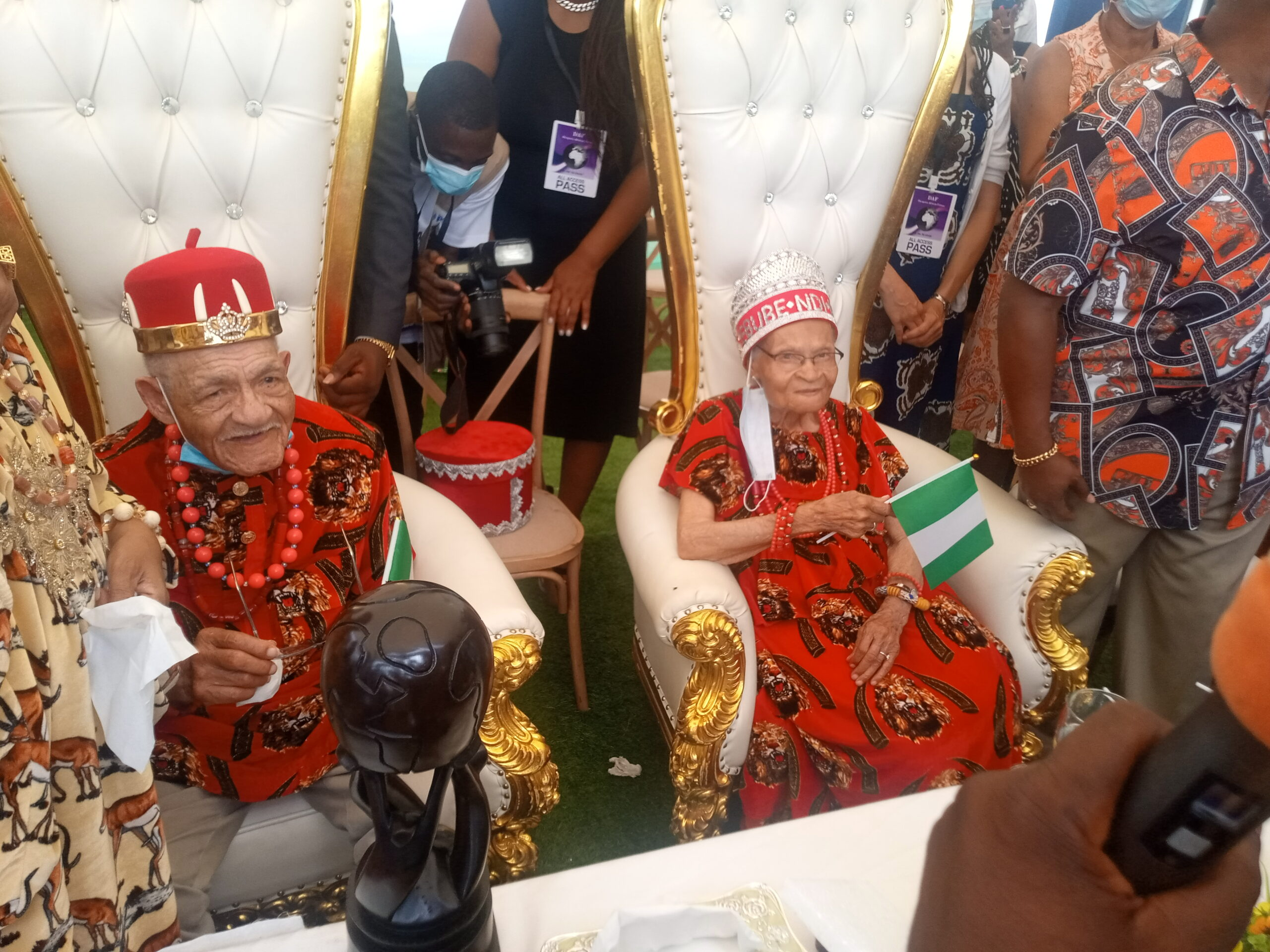 107-Year-Old Viola Fletcher and 100 -Year-Old Brother Call on Igbo King in Ghana